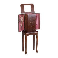 Costway Jewelry Cabinet Storage Chest Stand Organizer Wood Box for Home Walnut