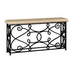 """72"""" Width Rectangular Limed Wood Console With Wrought Iron Base"""