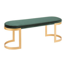 LumiSource - Lumisource Demi Bench With Gold Metal and Emerald Green Velvet - Upholstered Benches