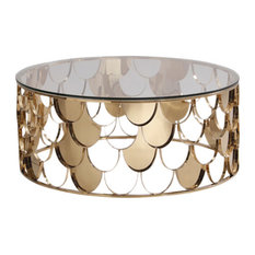 Modrest Javier Modern Glass and Gold Round Coffee Table
