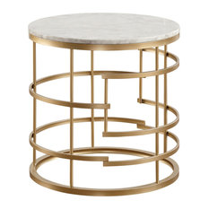 Jaxton Round End Table With Faux Marble Top Gold
