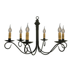 Adams Metal Chandelier In Aged Black, 6-Light