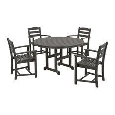 POLYWOOD La Casa Cafe 5-Piece Dining Set, Slate Grey