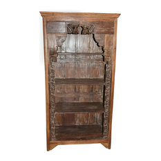 Mogul Interior - Consigned Antique Traditional Hand-Carved Indian Bookshelf With Arch Frame - Bookcases