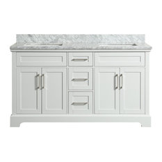 Henson White Bathroom Vanity With Marble Top, 61''