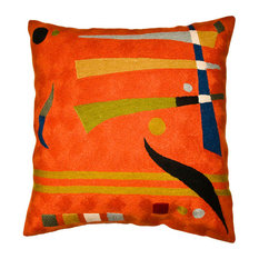 """Kandinsky Pillow Cover Needlepoint Hand Embroidered Wool 18x18"""""""