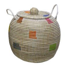 Doum Basket With Squares, Small