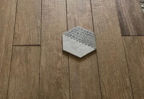Accostamento mosaico con piastrelle esagonali