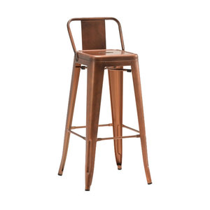 Industrial Bar Stool With Back Rest, Copper
