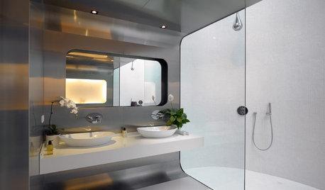 Room Tour: Curving Contours Define this Sleek Bathroom