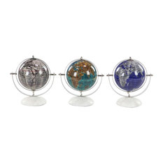 Modern Stainless Steel and Marble Pop Art Decorative Globes, 3-Piece Set