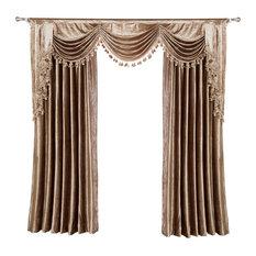 "Luxurious Window Curtain, Velvet Rocks, 100""x96"", 2 Panels With Valance"