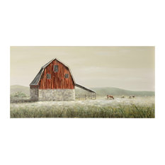 """Old Red Barn, 55""""x28"""" Hand Painted Farmhouse Textured Stretched Canvas"""