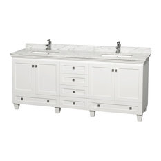 "Acclaim 80"" Double Vanity White Carrera , White, No Mirror"