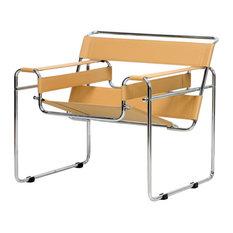 Baxton Studio Jericho Tan Leather Mid-Century Modern Accent Chair, Tan