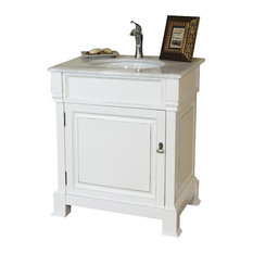 """30"""" Single Sink Vanity, Solid Wood, White Finish, White Marble Countertop"""