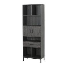 Maureen Contemporary Faux Wood Cube Unit Bookcase, Dark Gray/Black