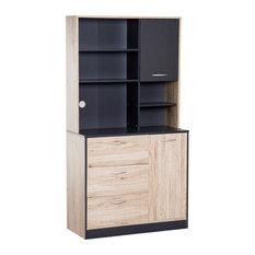 "HomCom 67"" Modern Kitchen Buffet Cabinet with Microwave Storage Hutch"