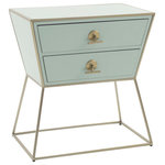 GABBY - Jonah Nightstand - The striking Jonah nightstand made from pastel blue wood and stainless champagne will complement and elevate your transitional style.