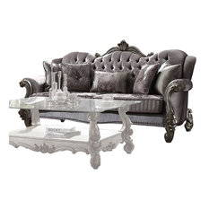 ACME Versailles Sofa with 5 Pillows, Velvet and Antique Platinum