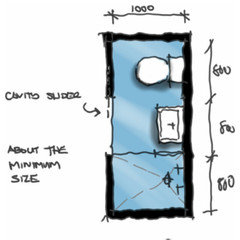 minimum size requirement of a shower room