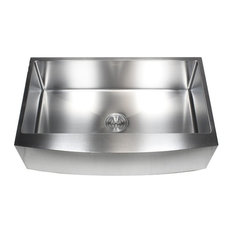 """Stainless Steel Curved Front Farm Apron Single Bowl Kitchen Sink, 36"""""""