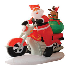Wide Christmas Inflatable Santa Claus Driving Motorcycle With Reindeer, 6'