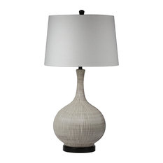 """Nathan 31"""" Table Lamp with Drum Shade by Lucy & George, Gray/White"""
