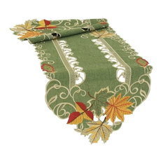Delicate Leaves Embroidered Cutwork Fall Table Runner, Green, 15''x54''