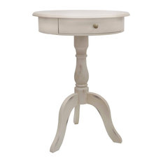 Beau Decor Therapy   Pedestal Table With Drawer, Antique White   Side Tables And End  Tables