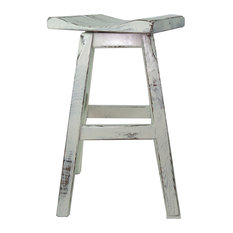 Swivel White Distressed Saddle Seat Bar Stool 24-inch