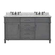 "Continental Collection, Grey, 60"", White Carrera Marble"