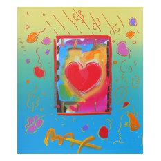 Heart, Original Mixed Media Painting, Peter Max, Art