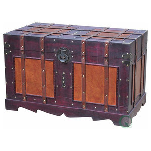 Traditional Storage Trunk in Fully Lined with Fabric Solid Wood, Brown Finish