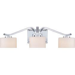 Lovely Transitional Bathroom Vanity Lighting Devlin Polished Chrome