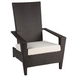 BABMAR - Martano Modern Outdoor All Weather Wicker Stackable Chair - This modern Martano Stackable Chair mimics the look of the classic Adirondack chair. Complete with a thick seat cushion, sturdy armrests, and an ergonomic design, the Martano is great for relaxing.