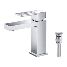Cubic Single Hole Bathroom Faucet with Drain Assembly KBF1002, Chrome, W/ Pop Up
