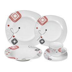 Porcelain 20 Piece Square Dinnerware Set Service for 4, Geometrical Design