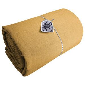 Amandine Linen Flat Sheet, Cumin, 270x320 cm