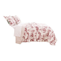 Greenland Home Classic Toile Quilt Set Red, King