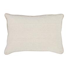 """Kosas Home Melanie 100% Cotton 14""""x20"""" Throw Pillow, Ivory"""