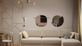 гостиная зона с зеркальным декором