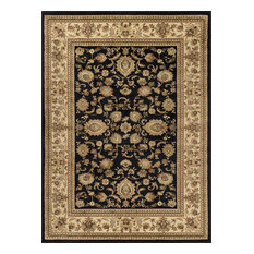 Gabrielle Transitional Border Black Rectangle Area Rug, 10.6' x 14.6'