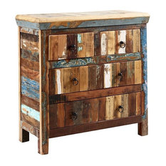 I H DESIGNS - Driftwood Reclaimed Wood 4-Drawer Chest - Chests of Drawers