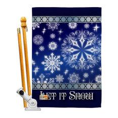 Let It Snow Dream Winter Winter Wonderland House Flag Set