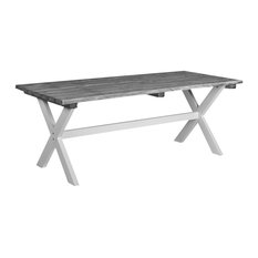 Large Shabby Chic Patio Table, White and Grey