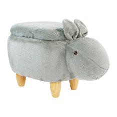 "15"" Seat Height Gray Easter Bunny Animal Shape Storage Ottoman"