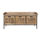 Safavieh Isaac 3-Drawer Wooden Storage Bench, Antique Pewter/Oak