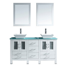 "Bradford 60"" Double Vanity Set, Aqua Square, Polished Chrome, With Mirrors"