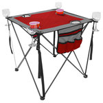 Creative Outdoor Distributor - Folding Wine Table, Red - Folding Wine Table is compact, light weight and a portable. Perfect  your outdoor activitie table needs at picnics, camping, beach, family gatherings and more.  Features 4 cup and 4 Wine Glass holders. Red and Gray Material.
